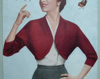 Vintage 1950s Knitting Pattern Womens Bolero Short Jacket Ribbed Bolero Cardigan 50s original pattern - Robin No 459 UK