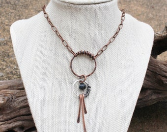 Copper and Silver. Artisan Necklace. Circles. Tassle. Oxidized. Wire Jewelry.