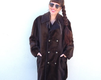Vintage BROWN Faux Fur Vegan Peacoat Long Size Large Winter Fall Coat Double Breasted Coat- Free Shipping USA