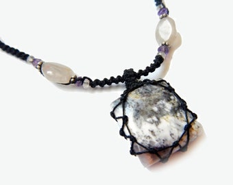 square Tree Agate macrame Necklace - Your Stone For Abundance- Bohemian healing crystal