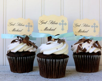 Baptism cupcake toppers, God Bless, Personalized, Boy Baptism