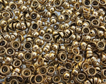 8mm (2mm Hole) Antique Gold Base Metal Bead Caps - Qty 20 (G314)