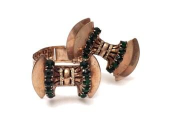 Sceptron Brooch & Bracelet Set, Sterling Silver Brooch and Gold Filled Bracelet Demi Parure, Sterling Brooch, 1940s Reinad Costume Jewelry