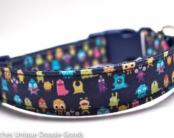 Little Monsters Custom Dog Collar/Buckle or Martingale/Navy
