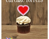 Valentines Day - Set of 12 Scalloped Heart Cupcake Toppers by The Birthday House