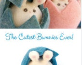 Bunny Rabbit Toys . 6 . Needle Felted Waldorf Toy . Pastel Colors . Hiding in Easter Eggs . Cute Easter . Christmas Gifts . boy . girl