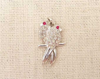 SALE --- Vintage Rhinestone and Sterling Love Birds Pendant