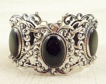 SUPER SALE --- Vintage Flourshing Danecraft Sterling and Onyx Bracelet