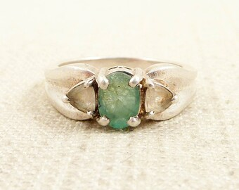 SALE --- Size 8.25 Sea Foam Gemstone and Sterling Ring