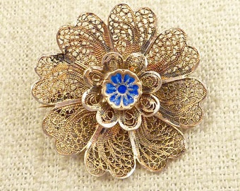 SALE --- Antique Blue Enamel Flower Vermeil Filigree Brooch