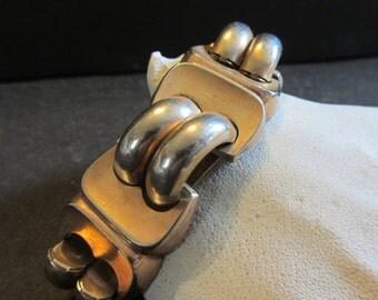 Lisner Wide Link Gold Tone Bracelet  Vintage 1950's