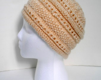 Knit Lace Beanie Hat
