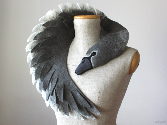 ugly duckling grey swan dark version felted wool animal. Black Bedroom Furniture Sets. Home Design Ideas