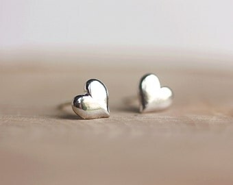 Sterling Silver Mini Hearts Stud Earrings,Heart Jewelry,Little Sterling Heart Earrings,All Sterling silver,Puff Heart Earrings by Maki Y