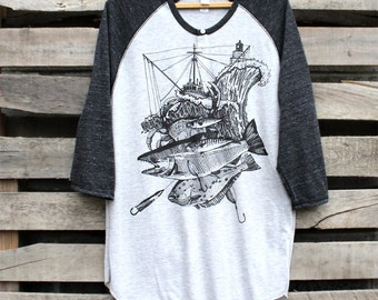 Troller Storm and Ship Wheel on Grey and Black Henley