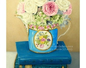 French Sevres and Pretty Books. . . . .8x10 Fine Art Giclee Print by LARA  Vintage Books Still Life Floral