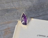 violet amethyst ring in sterling silver and fine silver, February birthstone, uncut raw amyethyst ring, amethyst engagement ring