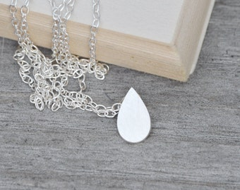 Raindrop Necklace Teardrop Necklace, Weather Forecast Necklace In Sterling Silver, Handmade In England