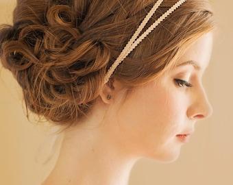 Double Bridal Headband | Wedding Hairband | Bridal Hair Accessory [Athena Headband: Blush]
