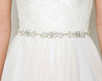 Rhinestone Bridal Belt | Crystal Wedding Belt | Rhinestone Sash Belt [Celeste Sash]