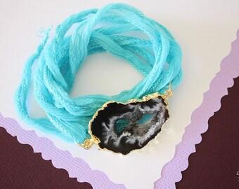 Natural Geode Slice Bracelet Gold, Geode Pendant, Crystal Slice Bracelet, Gold Geode Slice, Silk Wrap, Silk, Druzy Pendant, GDSB45