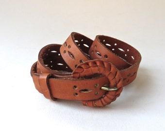 vintage Narrow Perforated Rust Orange Brown Leather Belt