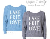 Lake Erie Love Long-Sleeve Pullover – Heather Blue and Heather Gray – Sizes S/M/L