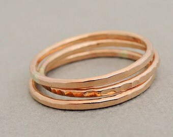 3 Rose Gold Rings three hammered stackable rings Gifts for women choose your size from 3 - 12