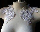 Ivory Beaded Pair Lace Applique for Lyrical Dance, Bridal, Veils, Headbands, Sashes, Costumes PR 61pearl