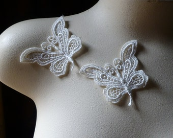 2 Butterfly Appliques in Ivory Venice Lace for Bridal, Jewelry or Costume Design
