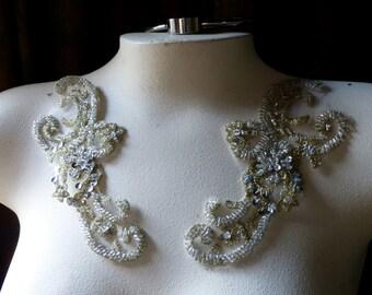 GOLD Beaded Applique Lace Pair for Lyrical Dance, Ballet, Bridal, Reenactment Costume Design PR 5
