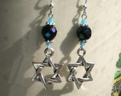 Dark Blue Navy and Silver Star of David Earrings
