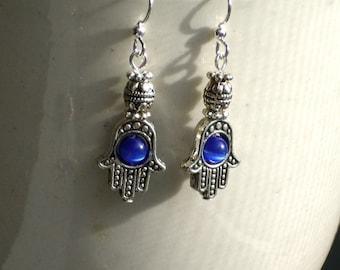 Hamsa Hand Royal Blue Hand of Fatima Dangle Earrings