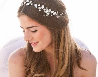 Bridal Hair Vine Rhinestone Wedding Hair Vine, Wired Rhinestone Wedding Hair Accessory, Silver Tiara Bridal Headpiece