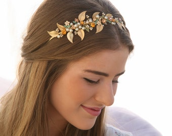 One of a Kind Gold Wedding Beaded Tiara with Vintage Jewelery Brass Leaves and Champagne Pearls Vintage Wedding Hair Accessory Gold Headband