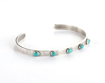"""Contemporary Sterling Silver and Genuine Turquoise Cuff Bracelet - """"Tiny Drops"""" Family Customized Birthstones"""