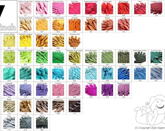 10 Mix and Match 7 Inch YKK Zippers Choose your own colors cherry red yellow beige black white vanilla bubble gum pink