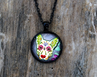 CLEARANCE - Day of the Dead White German Shepherd Sugar Skull Cameo Necklace