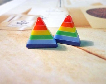 SALE - Rainbow Triangle Stud Earrings - No.01