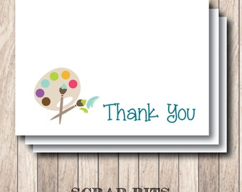 Painting Party Thank You Note Card Set