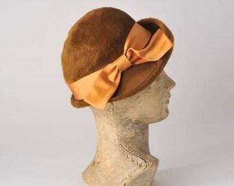 1960s Autumn Cloche Hat: Vintage Brushed Russet Wool Felt, Orange Satin Bow