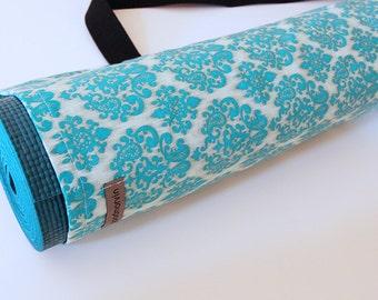 Yoga Mat Bag, Pilates Mat Bag, Ladies Yoga Bag, Yoga Mat Carrier, Turquoise Damask