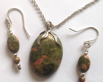Sterling Silver and Unakite Stone Pendant and Sterling Chain and Earrings Hand Crafted Sterling Wires