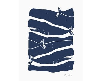 Passing Whales Print, Small Art Print, Screen print