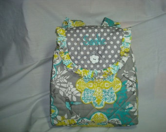 Child's Backpack in Grey multi with coordinating accents.