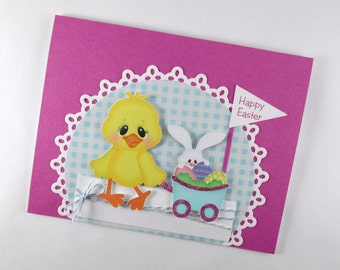 Childrens Easter card, kids Easter card, chick, Easter bunny, Easter cards for girls, happy Easter cards