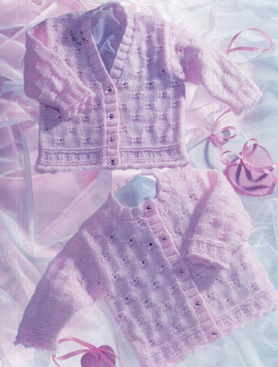 PDF Knitting Pattern / Baby Cardigan / 8ply Yarn / Multi size