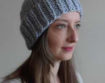 CHUNKY KNIT TOQUE / thick knitted warm hat / wool blend