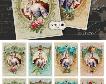 Printable download MARIE ANTOINETTE Digital Collage Sheet 2.5x3.5 inch size Gift Tags Vintage Paper Craft Greeting cards ArtCult artworks