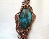 African Turquoise and Copper Pendant